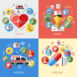 Digital vector blue red pharmacy. Medical icons set with drawn simple line art info graphic, ambulance tooth pills nurse heart tubes syringe medicine dropper Stock Photos