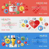Digital vector blue red silver pharmacy. Medical icons set with drawn simple line art info graphic, ambulance tooth pills nurse heart tubes syringe medicine Royalty Free Stock Photo