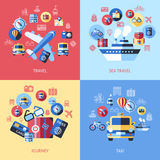 Digital vector blue red travel icons. Set with drawn simple line art info graphic poster promo, ship boat camera balloon luggage compass air plane map globe Royalty Free Stock Photo