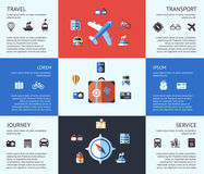 Digital vector blue red travel icons. Set with drawn simple line art info graphic poster promo, ship boat camera balloon luggage compass air plane map globe Stock Image