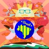 Digital vector blue sun with sunglasses Royalty Free Stock Photo