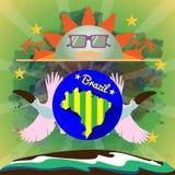 Digital vector blue sun with sunglasses Stock Image