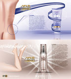 Digital vector blue violet anti cellulite skin. Care and legs cosmetic container mockup with gel, your brand, for print ads design. Female back. Transparent and Stock Images