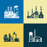 Digital vector blue yellow factory pollution Stock Photography