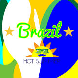 Digital vector brazil hot summer with sun. And national colors, flat style Royalty Free Stock Photos