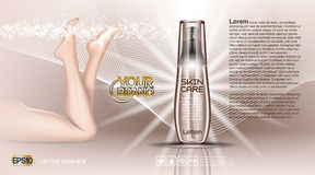 Digital vector brown glass skin care cosmetic. Container mockup with bubbles, with your brand, ready for print ads or magazine design. Female legs. Transparent Stock Photo