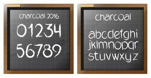 Digital vector charcoal hand drawn alphabet. And numbers, on a blackboard with grid, flat style Royalty Free Stock Photo