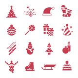 Digital vector christmas and new year holidays set. Collection decoration objects color simple flat icon with fir tree, isolated Stock Image
