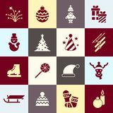 Digital vector christmas and new year holidays set. Collection decoration objects color simple flat icon with fir tree, isolated Royalty Free Stock Images
