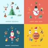Digital vector christmas and new year holidays set. Digital vector christmas and happy new year holidays set collection decoration objects color simple flat icon Stock Photo
