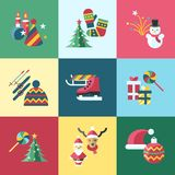 Digital vector christmas and new year holidays set. Collection decoration objects color simple flat icon with fir tree, isolated Stock Photo
