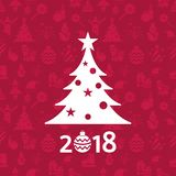 Digital vector christmas and new year holidays set. Collection decoration objects color simple flat icon with fir tree, isolated Stock Images