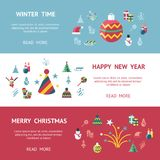 Digital vector christmas and new year holidays set. Digital vector merry christmas and new year holidays infographics set collection decoration objects color Royalty Free Stock Photo