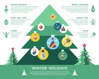 Digital vector christmas and new year holidays set. Digital vector christmas and new year holidays infographics set collection decoration objects color simple Stock Image