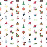 Digital vector christmas and new year holidays set. Digital vector seamless pattern christmas and new year holidays set collection decoration objects color Stock Photography