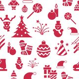 Digital vector christmas and new year holidays set. Digital vector seamless pattern christmas and new year holidays set collection decoration objects color Stock Image