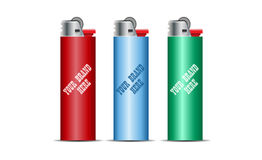 Digital vector cigarette lighter mockup. Red, blue and green, realistic flat style,  and ready for your design and logo Royalty Free Stock Photography