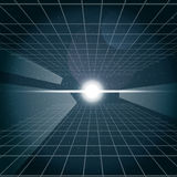Digital vector cosmic white light and a grid. In space, over stelar background, flat style Stock Illustration