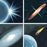 Digital vector cosmos icons set with galaxy Stock Photos