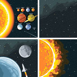 Digital vector cosmos icons set with galaxy Royalty Free Stock Photography