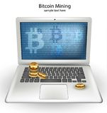 Digital Vector Cryptocurrency Bitcoin mining, transfers from laptop concepts. Digital Vector Cryptocurrency Bitcoin mining, transfers from laptop concept Stock Photography
