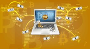 Digital Vector Cryptocurrency worldmap. Bitcoin mining, transfers from laptop concepts. Digital Vector Cryptocurrency worldmap. Bitcoin mining, transfers from Stock Image