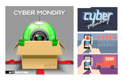 Digital vector cyber monday sale banner Stock Photography