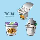 Digital vector detailed line art packed yogurt. Hand drawn retro illustration collection set. Thin artistic pencil outline. Vintage ink flat, engraved mill Royalty Free Stock Images