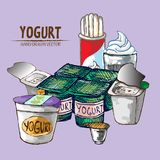 Digital vector detailed line art yogurt. With whipped cream hand drawn retro illustration collection set. Thin artistic pencil outline. Vintage ink flat Stock Photos