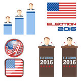 Digital vector election 2016 icon set. With american flag, speakers, candidates, tribune and results over white background, flat style Vector Illustration
