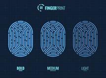 Fingerprint Scan Vector Icons Set. Digital vector fingerprint scan icons in 3 different sizes of thickness Royalty Free Stock Image