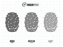 Fingerprint Scan Vector Icons Set. Digital vector fingerprint scan icons in 3 different sizes of thickness Royalty Free Stock Photos
