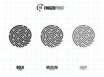 Fingerprint Scan Vector Icons Set. Digital vector fingerprint scan icons in 3 different sizes of thickness Stock Images