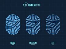 Fingerprint Scan Vector Icons Set. Digital vector fingerprint scan icons in 3 different sizes of thickness Stock Image