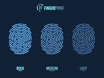 Fingerprint Scan Vector Icons Set. Digital vector fingerprint scan icons in 3 different sizes of thickness Royalty Free Stock Photo