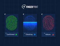 Fingerprint Scan Technology Icons Set. Digital vector fingerprint scanner technology icons for web and mobile usage Royalty Free Stock Photo