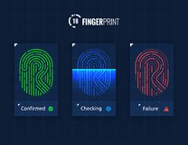 Fingerprint Scan Technology Icons Set. Digital vector fingerprint scanner technology icons for web and mobile usage Stock Photography