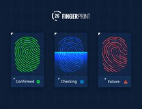 Fingerprint Scan Technology Icons Set. Digital vector fingerprint scanner technology icons for web and mobile usage Royalty Free Stock Photography