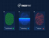 Fingerprint Scan Technology Icons Set. Digital vector fingerprint scanner technology icons for web and mobile usage Stock Photo