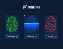 Fingerprint Scan Technology Icons Set. Digital vector fingerprint scanner technology icons for web and mobile usage Royalty Free Stock Photos