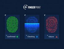 Fingerprint Scan Technology Icons Set. Digital vector fingerprint scanner technology icons for web and mobile usage Stock Images
