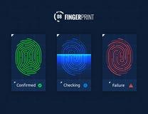 Fingerprint Scan Technology Icons Set. Digital vector fingerprint scanner technology icons for web and mobile usage Stock Image