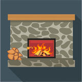 Digital vector fireplace room with burning wood. Flat style Stock Photography