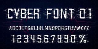 Digital vector Font design. Letters, Numbers and percent symbol for Cyber Monday, Hi-tech style vector illustration