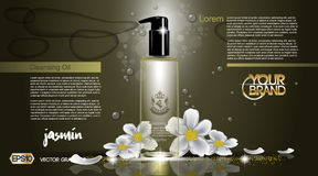 Digital vector glass bottle cleansing oil jasmin Royalty Free Stock Photography