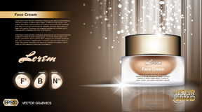 Digital vector glass face cream brown container Stock Photography