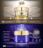 Digital vector glass face cream brown and purple Royalty Free Stock Photo