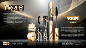 Digital vector golden and black. Skin care cream, mascara cosmetic container set mockup collection, your brand package, print ads or magazine design Stock Image