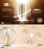 Digital vector golden glass bottle spray Royalty Free Stock Photos