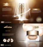 Digital vector golden glass bottle spray essence Stock Images